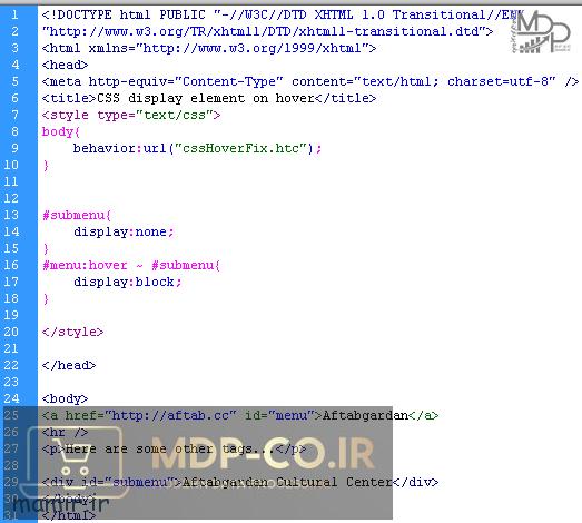 کد CSS نمایش و مخفی کردن با آمدن موس